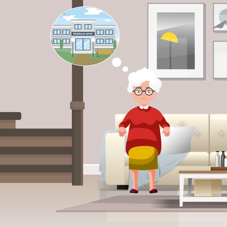 Illustration d'une personne âgée qui pense à aller dans une maison de retraite suite à une chute