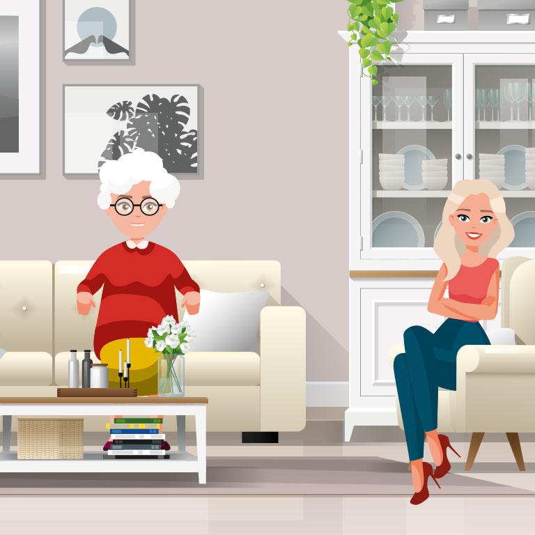 Illustration d'Eliane et Lucie qui font de la colocation intergénérationelle