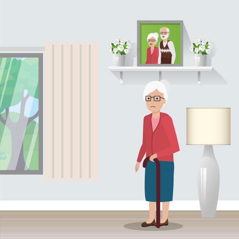 illustration d'une personne agée seule à son domicile