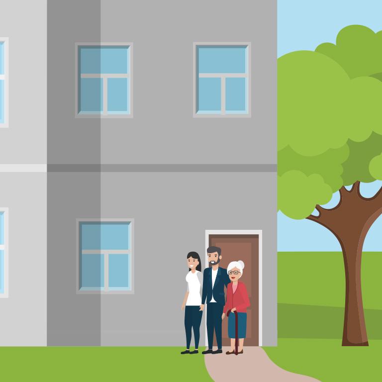 illustration d'une personne agée qui a décidé de louer l'étage de sa maison à un couple de jeunes actifs