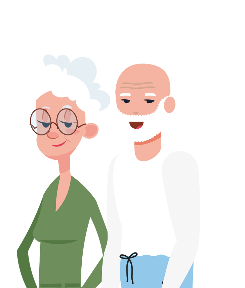 Illustration d'un couple de senior de maneo senior
