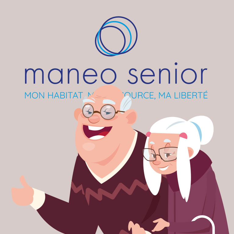 Illustration d'un couple de seniors qui se rendent chez maneo senior