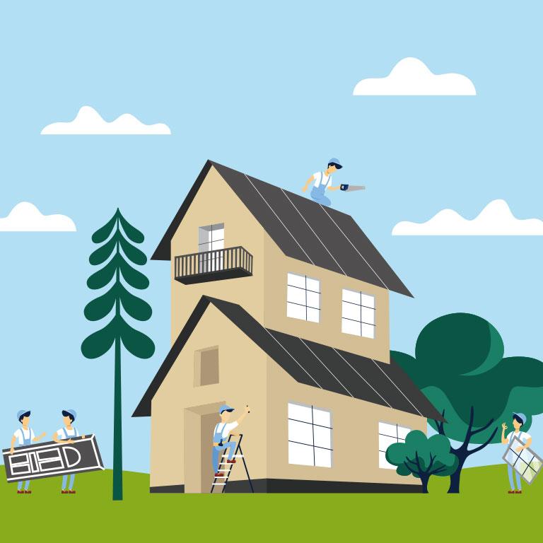Illustration d'une maison en cours de rénovation