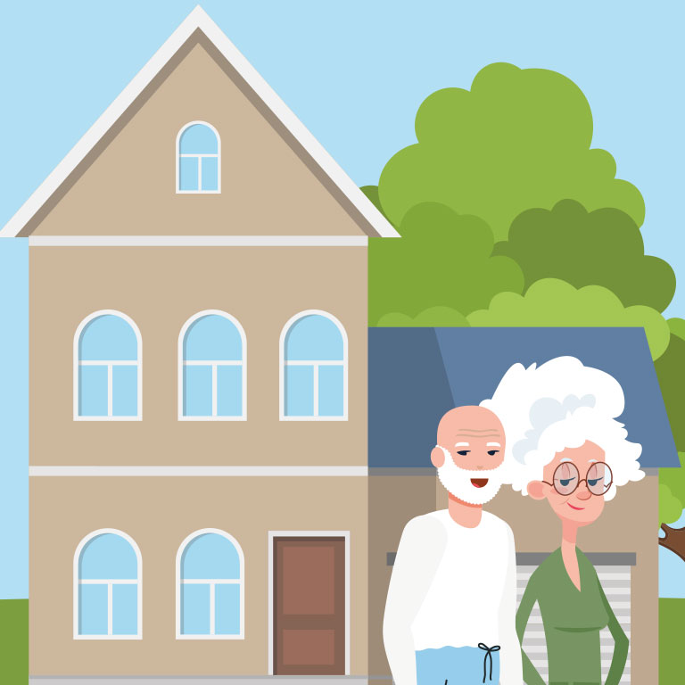 Illustration d'un couple de senior devant leur grande maison
