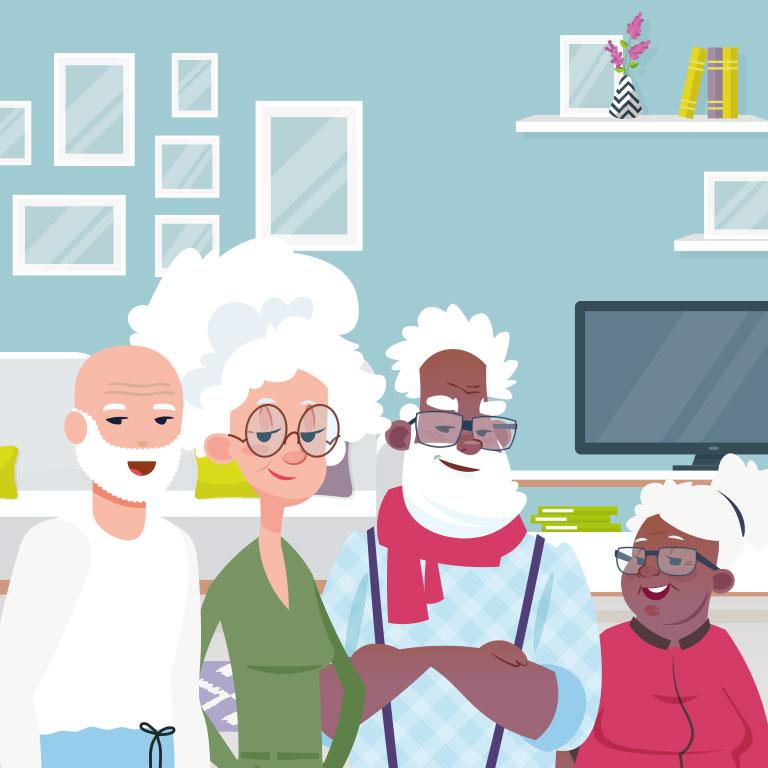Illustration de deux couples de seniors qui ont decidé de faire de la colocation pour diminuer leurs charges et avoir plus de lien social